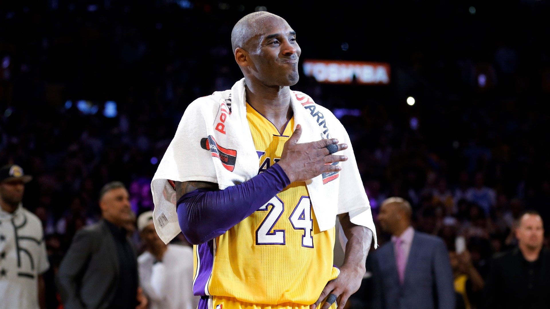 Los Angeles Lakers' Kobe Bryant pounds his chest after the last NBA basketball game of his career